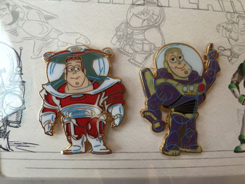 Close up of the Buzz Lightyear pins.
