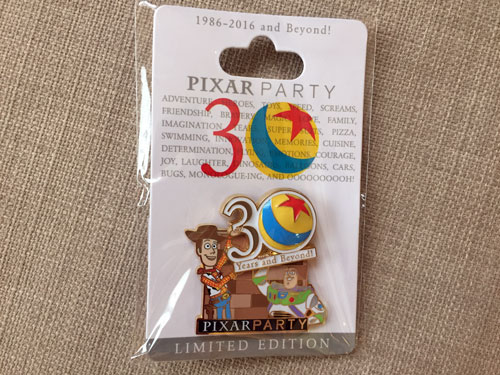 This 30th Anniversary Pin pictures Woody and Buzz Lightyear along with the Pixar ball.