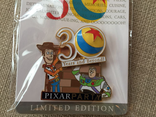Close up of Buzz and Woody on the 30th Anniversary pin.