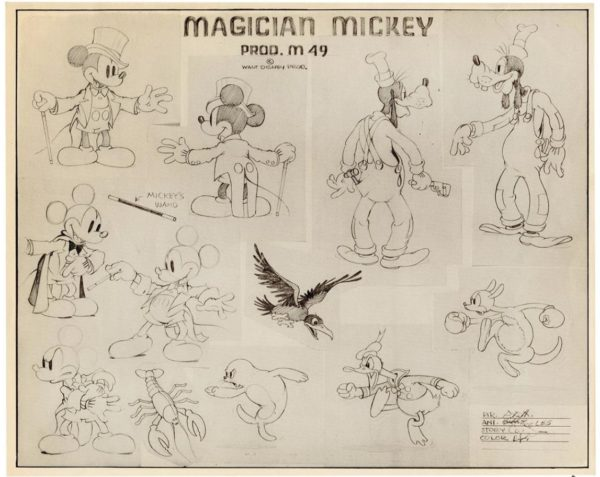 """Magician Mickey animation model sheet, is estimated at $200-400. This 12 x 10"""" example was produced for the use of animators at Walt Disney Studios during production of the 1937 classic animated short and includes a CoA."""