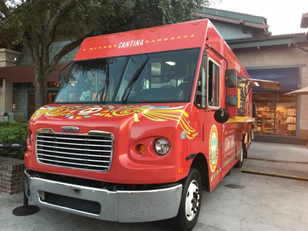 You will find the Four Rivers Cantina food truck near the World of Disney store.