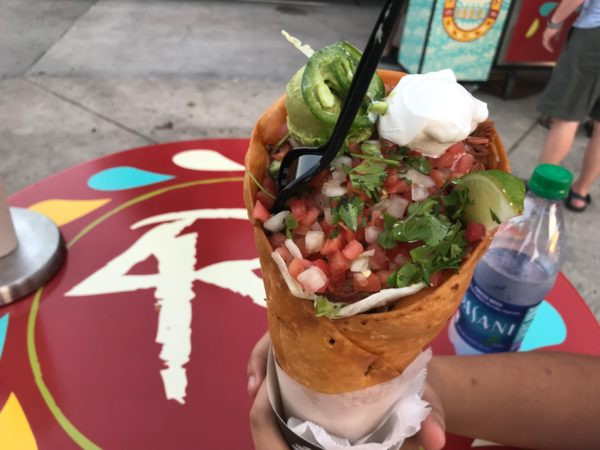 I tried the taco cone. It was delicious, and looked very impressive too!