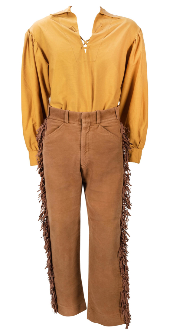 Disneyland Davy Crockett Canoes costume from the 1980s, is estimated at $900-1,200. This uniform was worn by cast members who ran the Davy Crockett Canoes on the Rivers of America and includes a shirt and pants.