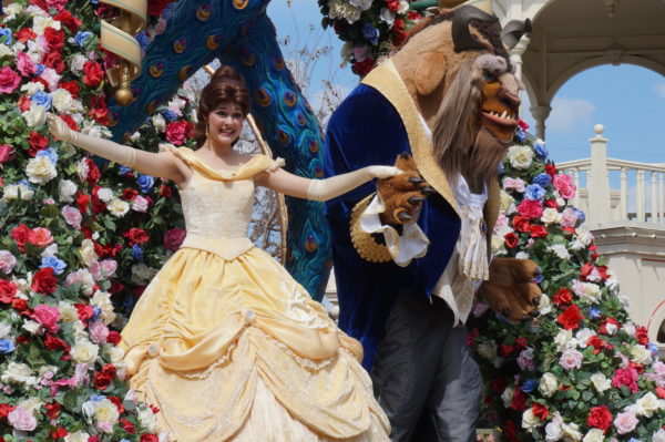 Beast and Belle head up the Festival of Fantasy Parade every day!