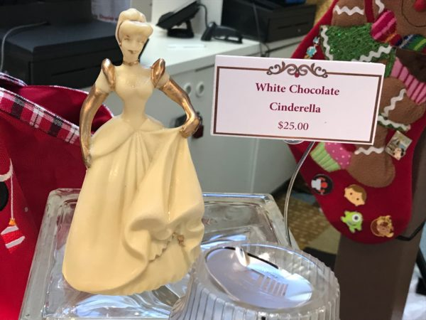 The most expensive treat is this white chocolate Cinderella complete with gold-leaf gloves and sleeves: $25!