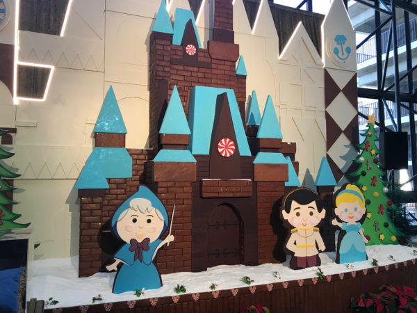 The entire display is made out of gingerbread and inspired by Mary Blair's style.