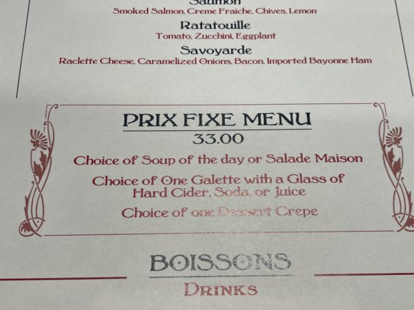 The Prix Fixe offering is a full meal.