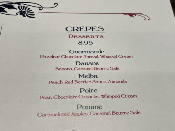 The crepes come in a variety of sweet options.
