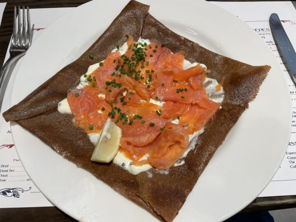 I tried the smoked salmon galette. It was crunchy and amazing!