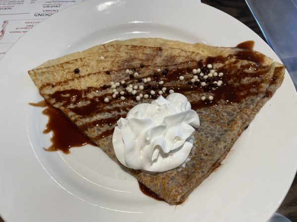 Everything is good when it has hazelnut spread, including this crepe.