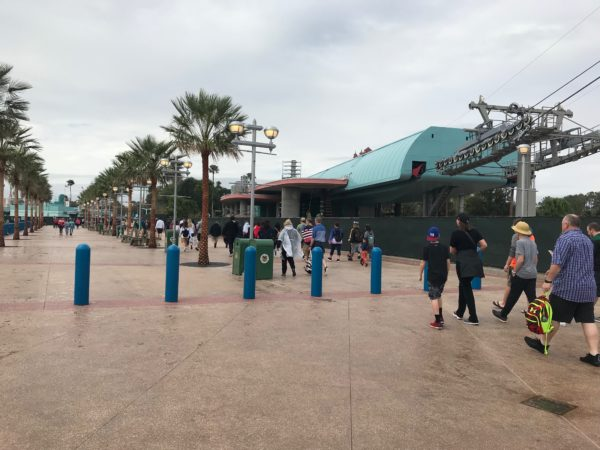 The new walkway goes past the Skyliner station, which is still under construction.