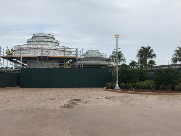 While the walkway is open, the covered bus waiting areas are still under construction.