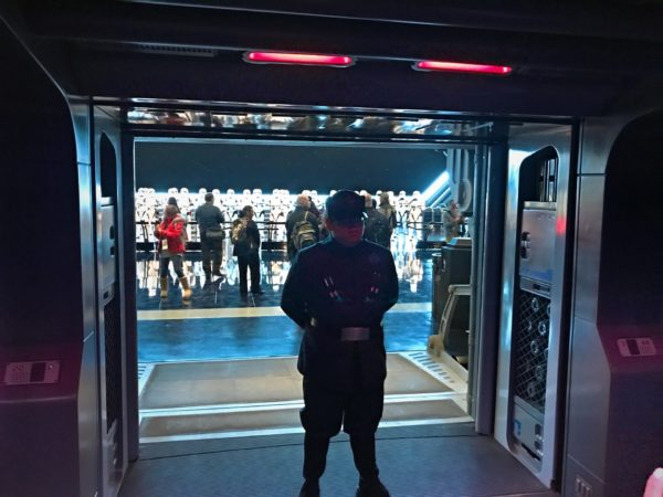 A First Order Patrol officer is standing at the door as it opens and informs you that you are now prisoners of the First Order and demands that you get off your ship.