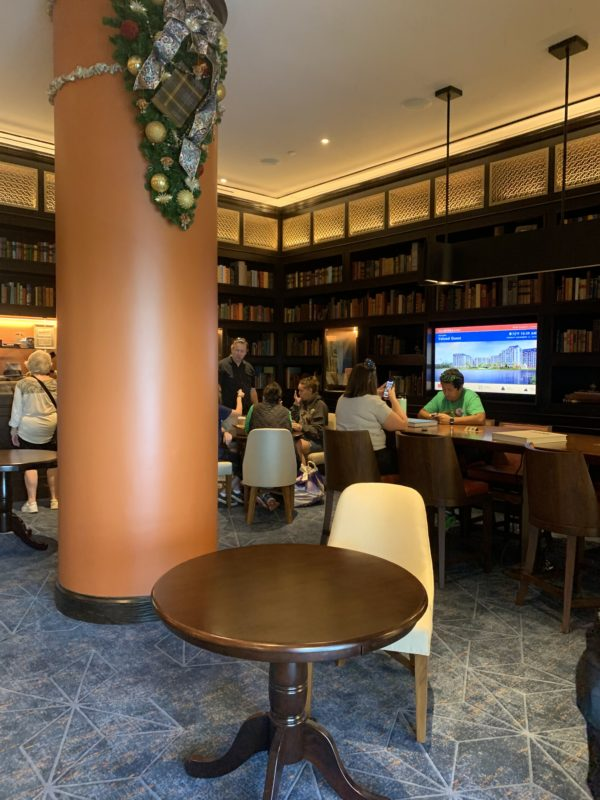 The Voyageurs' Lounge offers comfortable seating, tables perfect for working, and books to read!