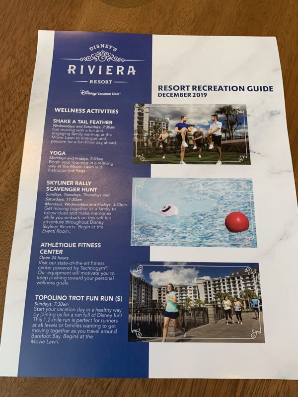 Disney's Riviera Resort offers a variety of Wellness Activities!