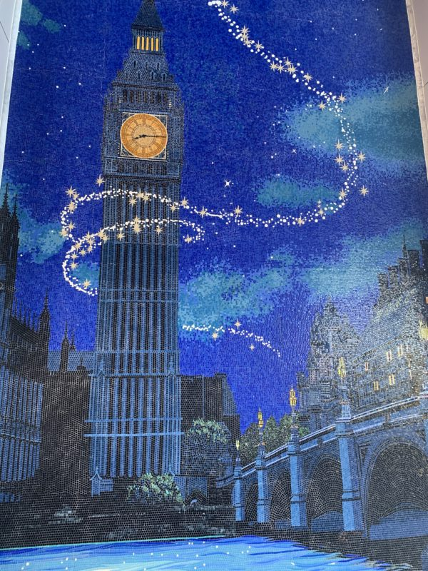 The mural features Big Ben and Peter Pan flying over London.