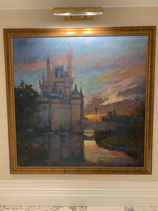 Throughout the residence halls, you'll find Disney-themed artwork like this one of Cinderella Castle.