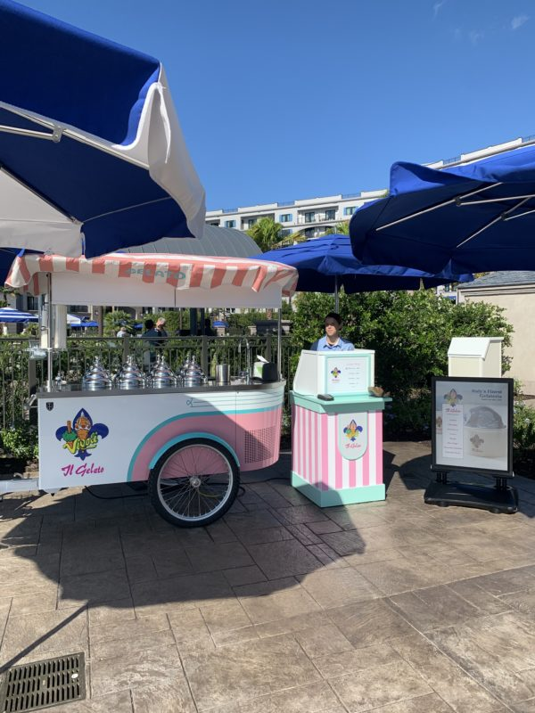 There's a gelato cart located inside the fences of the feature pool. The cart is apparently pulled by a bicycle!