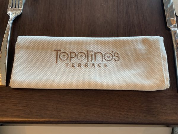 Topolino's Terrace is a formal dining location on the top floor of the resort.