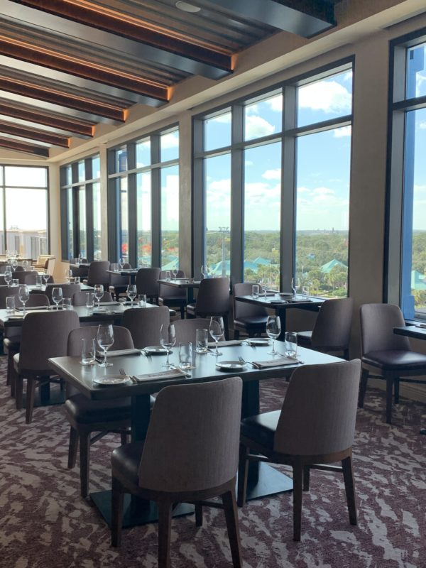 This restaurant is quite large. There are a variety of seating options all with great views out of the large windows.