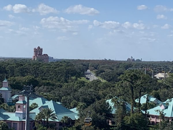 Besides the resort, you can see Disney's Hollywood Studios' Twilight Zone Tower of Terror (left) and Disney's Animal Kingdom's Expedition Everest and the Tree of Life (right).