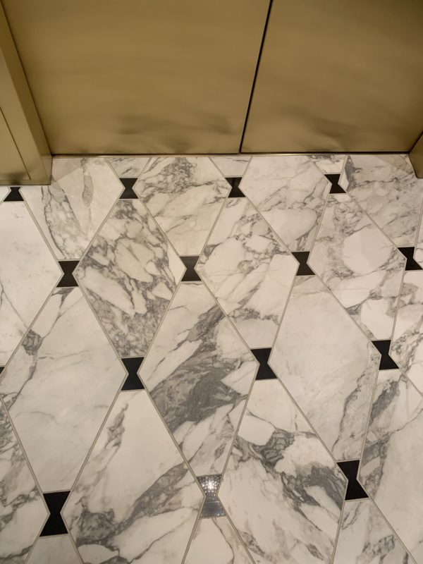Even the elevator floors are marble.