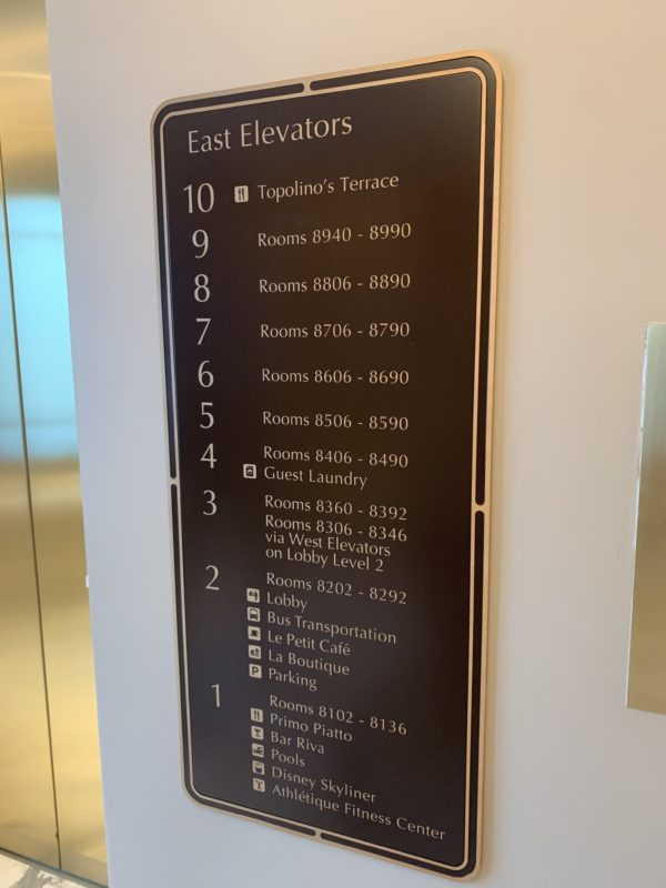 Each elevator offers helpful floor keys.
