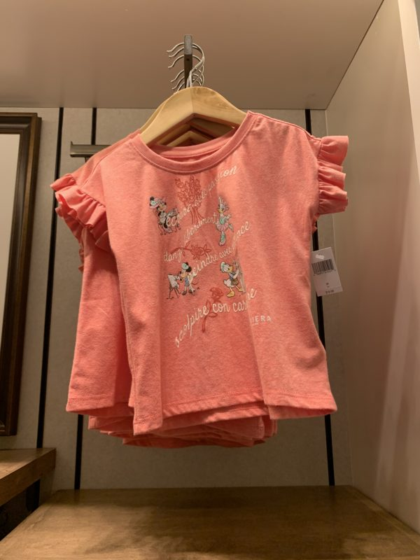 This cute girls' shirt shows Painter Mickey, Poet Minnie, Dancer Daisy, and Sculptor Donald!