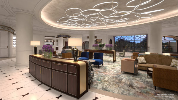 This artist's rendering of the Riviera Resort's lobby shows bright, modern takes on the classic styling of the Mediterranean. Photo credits (C) Disney Enterprises, Inc. All Rights Reserved