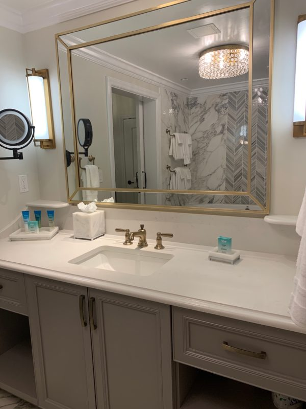 This larger vanity sink is located just across from the tub in the one-bedroom villa master suite.