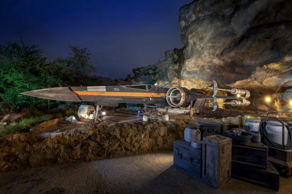 Poe Dameron's X-Wing Starfighter. Poe escorts guests off Batuu as they attempt to rendezvous with General Leia Organa Photo credits (C) Disney Enterprises, Inc. All Rights Reserved.
