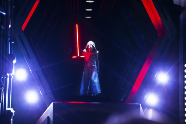 You'll see Kylo Ren a total of three times throughout the attraction including here when Kylo Ren brandishes his iconic red lightsaber. Photo credits (C) Disney Enterprises, Inc. All Rights Reserved.
