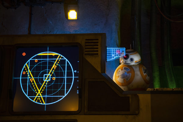 BB-8 greets guests inside the makeshift briefing room. Photo credits (C) Disney Enterprises, Inc. All Rights Reserved.