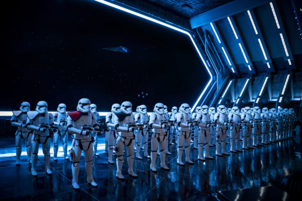 Fifty menacing First Order Stormtroopers await guests as they arrive in the hangar bay of the Star Destroyer. Photo credits (C) Disney Enterprises, Inc. All Rights Reserved.