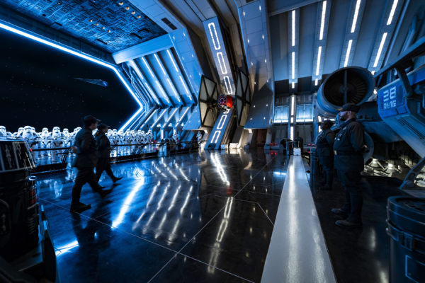 First Order troops and Stormtroopers patrol the hangar bay of the Star Destroyer. Photo credits (C) Disney Enterprises, Inc. All Rights Reserved.