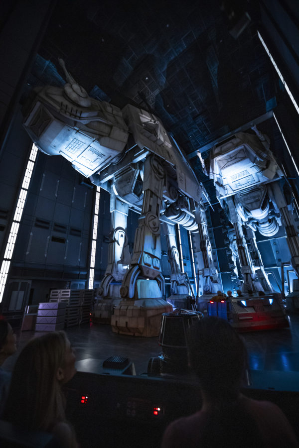 Guests race past massive AT-AT walkers aboard the First Order Destroyer. Photo credits (C) Disney Enterprises, Inc. All Rights Reserved.