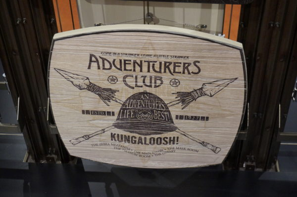 The Adventurers Club is now closed, but the president shipped the decor to other places in the Disney Universe. You can even purchase memorabilia like this sign from the Marketplace Co-Op.
