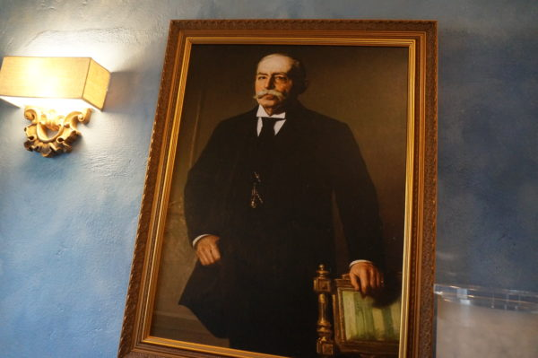 This painting is of Dr. Albert Falls, the owner of this restaurant.