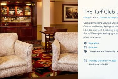 The Turf Club Lounge's Landing Page on Walt Disney World's Website.