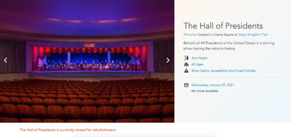 A screen shot of The Hall of Presidents landing page