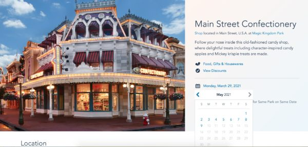 "Screen Shot Showing the Main Street Confectionary's Hours of Operations as: ""No Times Available"" Until May 9, 2021."