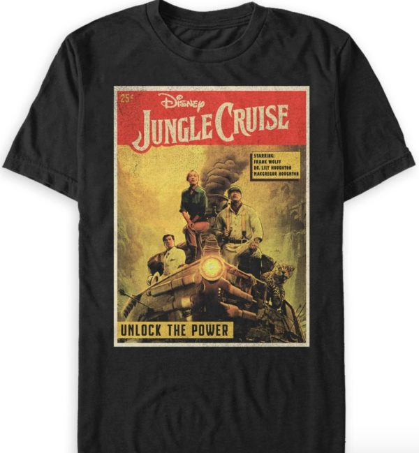 Jungle Cruise Book Cover T-Shirt for Adults – Jungle Cruise Film.  Photo credits (C) Disney Enterprises, Inc. All Rights Reserved