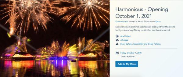 Main Landing Page for Walt Disney World's Harmonious at EPCOT. Photo credits (C) Disney Enterprises, Inc. All Rights Reserved
