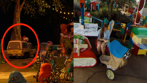 A mom shows her child (in a Disney stroller) a toy version of the Pizza Planet Truck, which appears in every Toy Story film. Photo credits (C) Disney Enterprises, Inc. All Rights Reserved