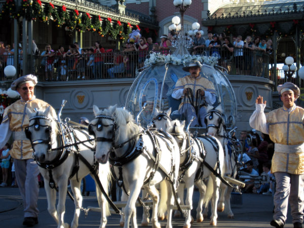 Cinderella's horses also make special appearances like this one at Christmastime.