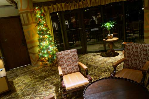 Even the off-the-beaten-path seating areas are decked out for Christmas.
