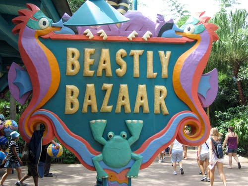 Sign for Beastly Bazaar - all about animals who live near water.