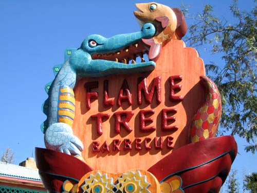 Sign for Flame Tree BBQ.