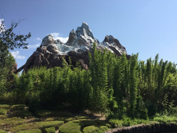 Everest is the smaller peak to the far right, and the middle peak is the Forbidden Mountain.