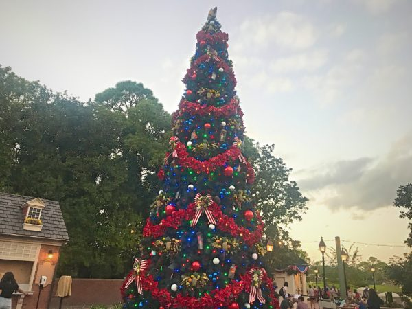 American Adventure Christmas tree features red, white, and blue colors.